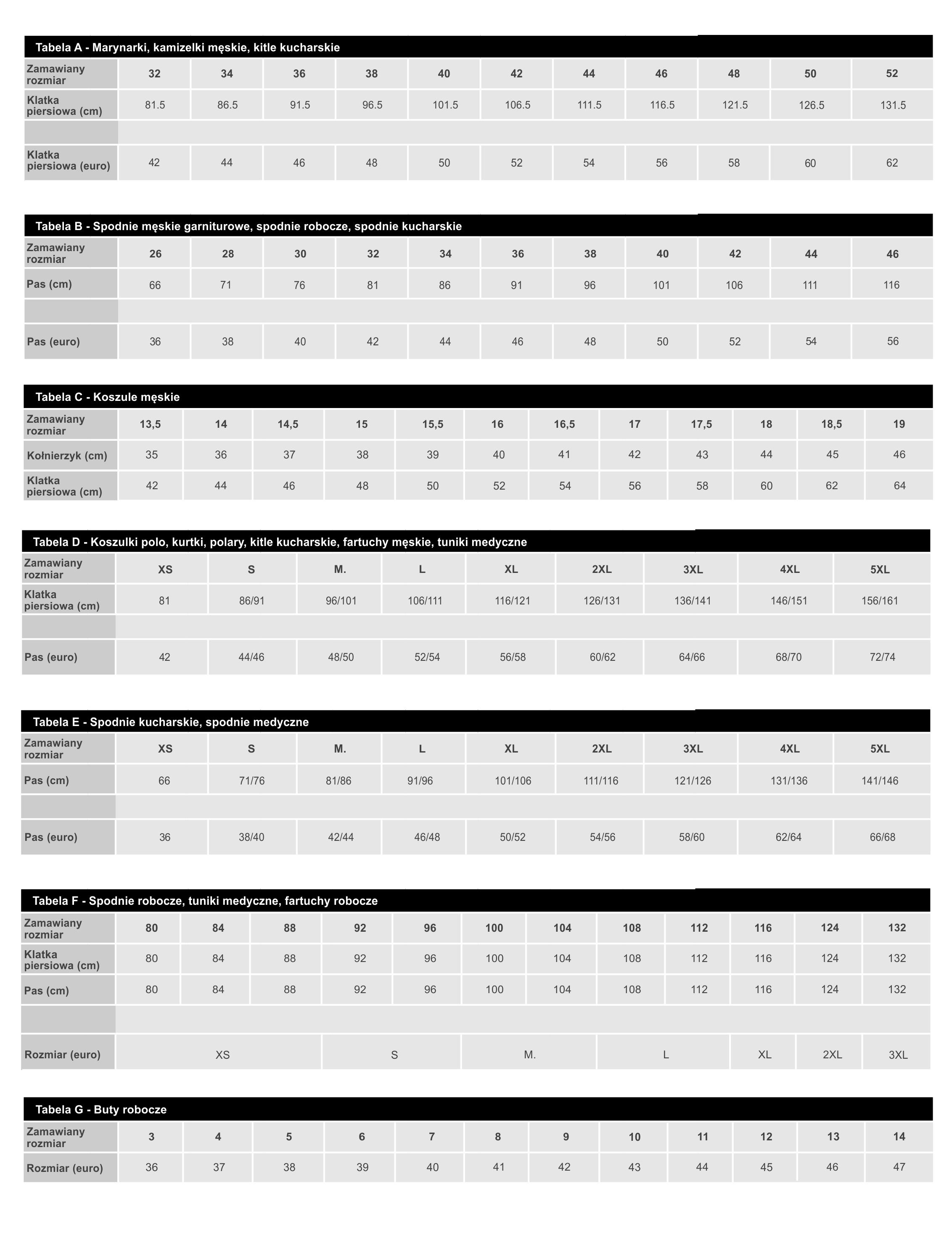 Tabela rozmiarów odzieży męskiej theStar